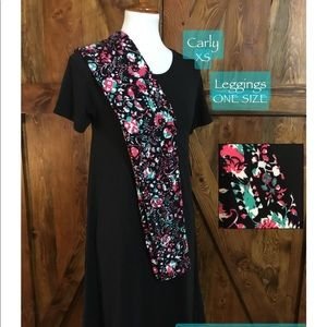 LuLaRoe outfit XS solid Noir Carly, OS Leggings